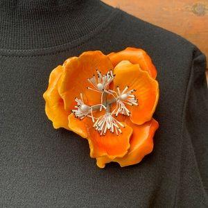 Vintage Large Orange Flower Brooch Pin